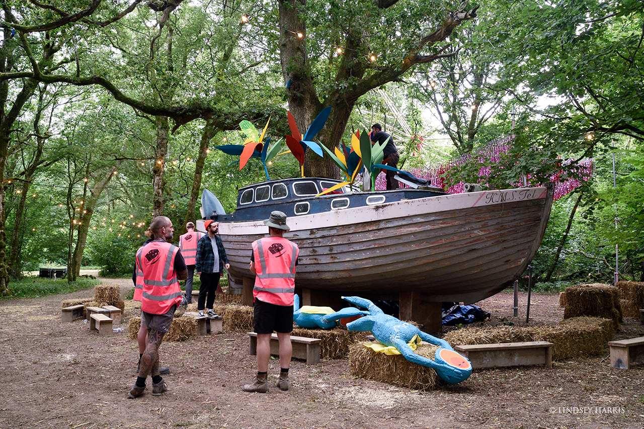 Preparing the 'Disco Ship' at End Of The Road Festival 2021.
