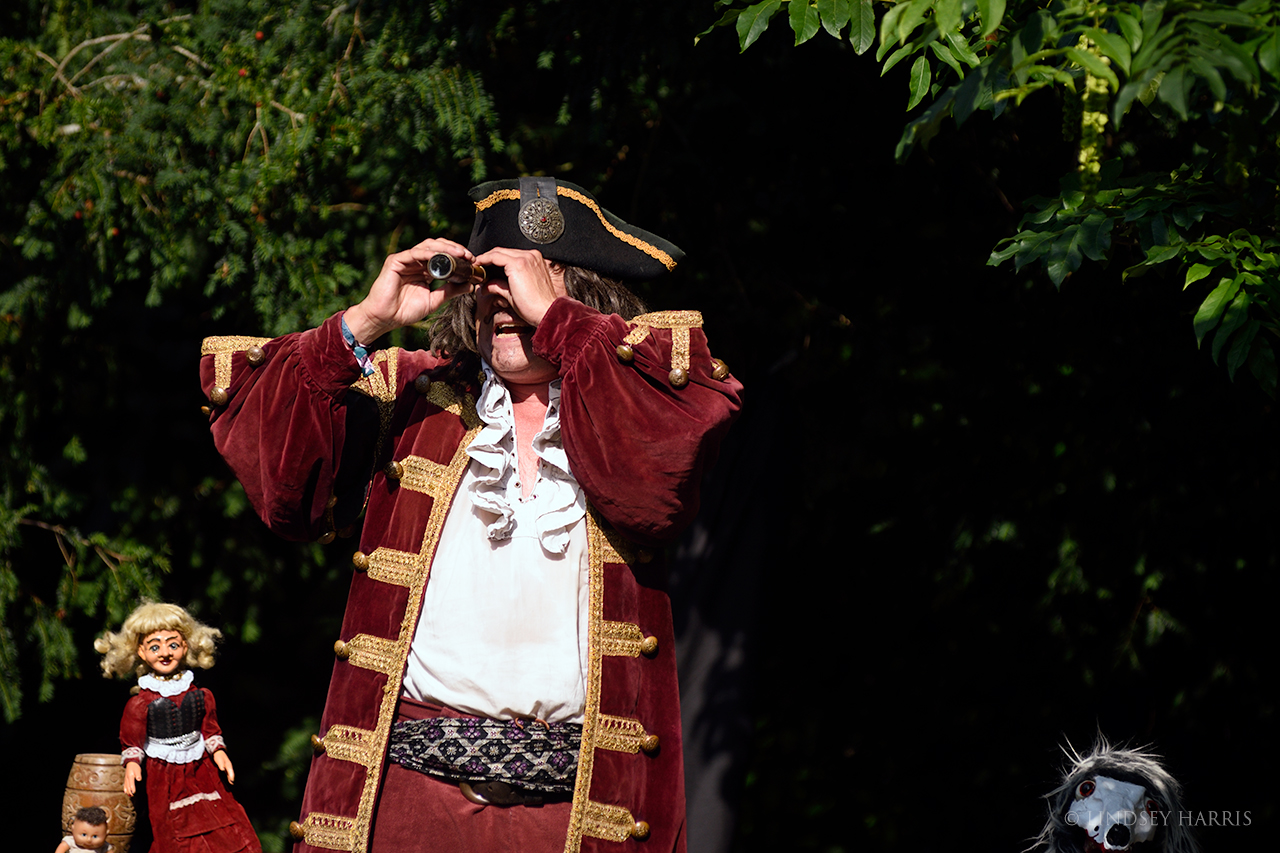 A pirate entertains the children at End of the Road 2021.