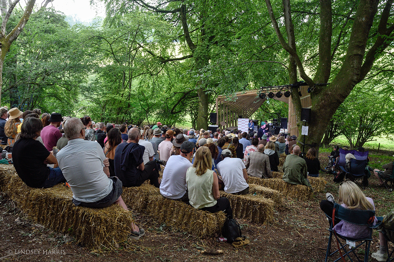 'Talking Heads' - the crowd watches an interview with Jason, from the Sleaford Mods.