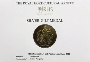 Lindsey Harris' RHS Silver-Gilt medal, awarded for a portfolio of 6 images of poisonous plants