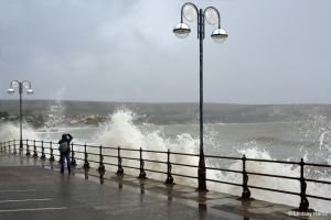 High tide by the Mowlem Theatre, Institute Rd, Swanage, Dorset