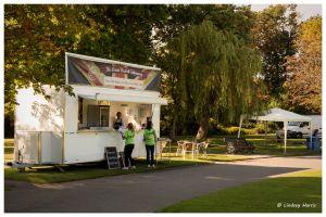 Fast food at cirkVOST's 'BoO' Trapeze Show, Poole Park, Poole, Dorset, UK