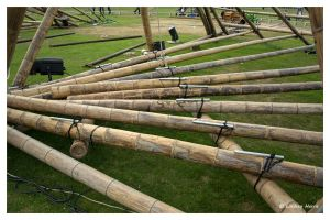 Close-up of bamboo structure for cirkVOST's 'BoO' trapeze show