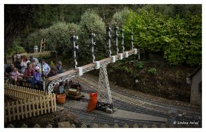 Signal gantry at Luscombe Valley Steam Railway