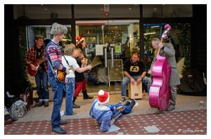 The Jimmy Hillbillies busking in Westbourne Arcade