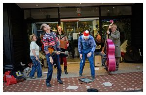 The Jimmy Hillbillies in Westbourne Arcade. The lead singer has just thrown his hat up in the air and it hasn't come back down!