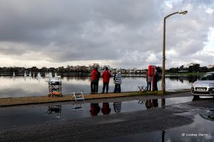 Flooding by the Boating Lake at Poole Park, Poole. Dorset.
