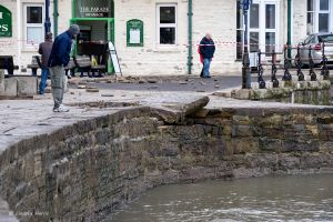 Damaged sea wall Swanage, Dorset. Storm Angus.