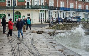 Damage to the sea wall at Swanage, Dorset