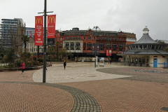 A deserted Bournemouth Square, due to the effects of coronavirus. March 19th 2020.