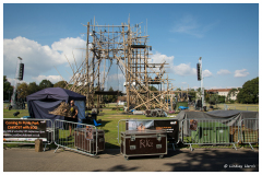 Preparations are underway for the CirkVOST 'BoO' Trapeze Show, Poole Park, Poole, Dorset.