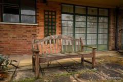 Joe's bench at a derelict rest home, New Forest.