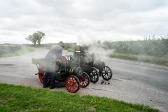 Traction engine stops en route to the 2018 GDSF showground at Tarrant Hinton.