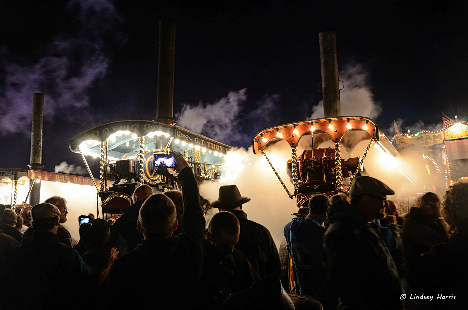 Midnight whistles of steam engines at the Great Dorset Steam Fair, 2012.