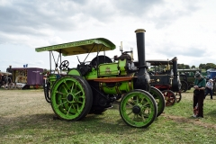 Lime green traction engine.