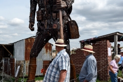 Giant WW1 soldier sculpture at the Great Dorset Steam Fair 2018.'The Haunting'. A 20ft scrap metal soldier created by the artist Martin Galbavy as a tribute to troops who fought in the First World War.