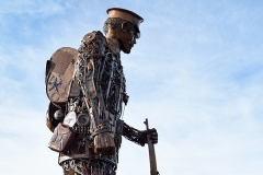 'The Haunting'. A 20ft scrap metal soldier created by the artist Martin Galbavy as a tribute to troops who fought in the First World War.