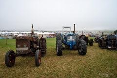 Tractors in the early morning mist at the Great Dorset Steam Fair.