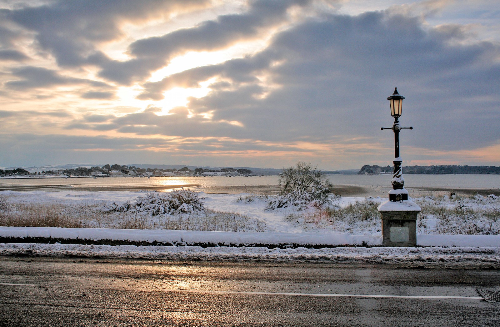Snow at Sandbanks and Poole Harbour, 2010.