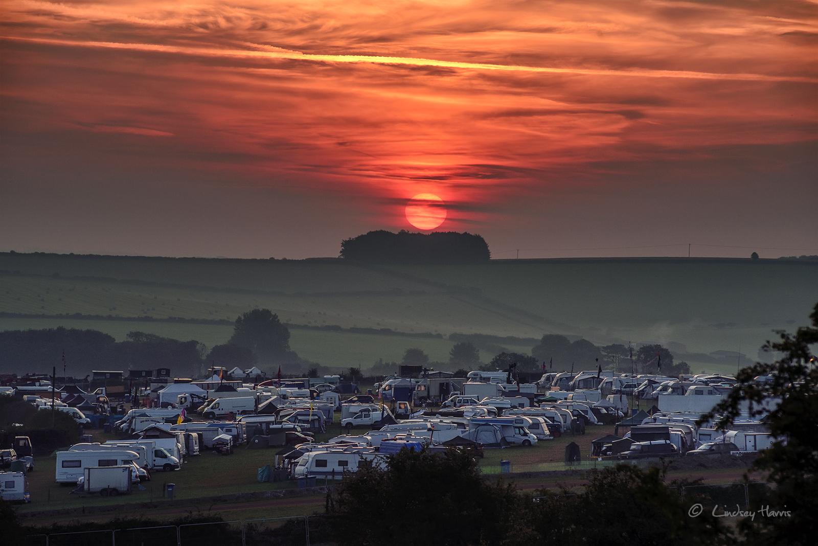 Sunrise over the Great Dorset Steam Fair 2017 - Tarrant Hinton, Dorset.
