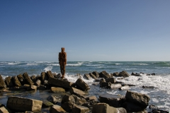 Sir Antony Gormley's 'Land' statue at Kimmeridge, Dorset.