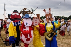 The Magic Roundabout - 'Dress Up Saturday' at Larmer Tree Festival 2018. Zebedee, Ermintrude, Brian and Dylan.