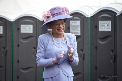 'The Queen' opens the public lavatories at Larmer Tree Festival 2019.