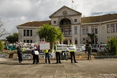 Demonstration outside the Civic Centre, Poole, against the closure of public lavatories in Poole.