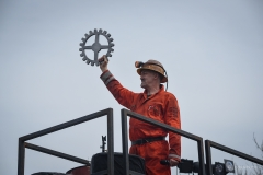 10. Will Coleman, creator of the Man Engine, presents a cast cog wheel 'trophy' to Radstock Musuem. Radstock, 6th April 2018.