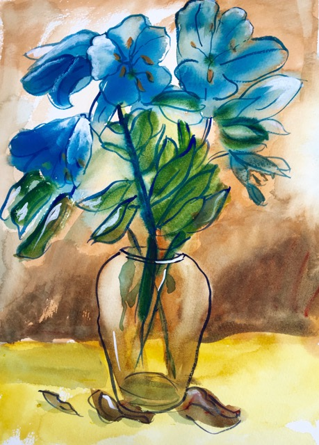 ⇡ Dufy style painting made from photograph of vase of flowers