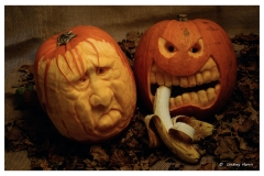 Pumpkin carvings 2014 (my carving is on the left).