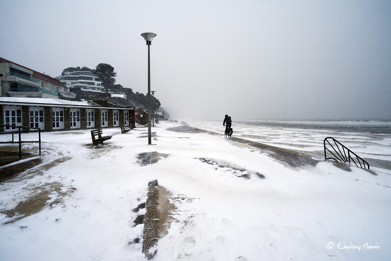Snow at Sandbanks, Poole, Dorset. 1st March 2018.