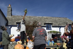 Judging the vegetable 'monsters' at the Square & Compass, Worth Matravers, Dorset.
