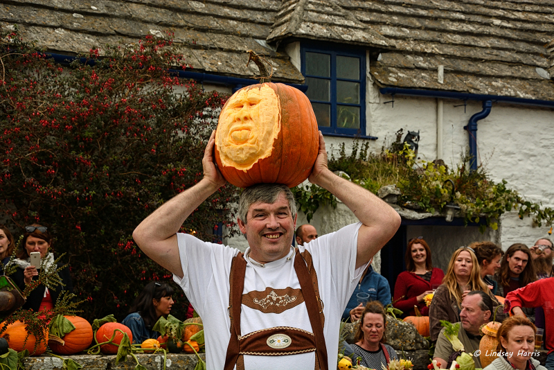 The pumpkin I carved is auctioned off for charity. At The Square & Compass Pumkin & Beer Festival, 2015.