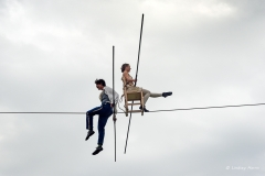 Chris and Phoebe balancing on the tightrope during Equilibrius.