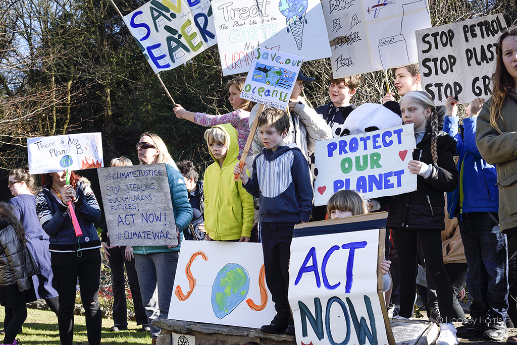 Children take part in the Youth Strike 4 Climate Bournemouth protest, at the Town Hall.