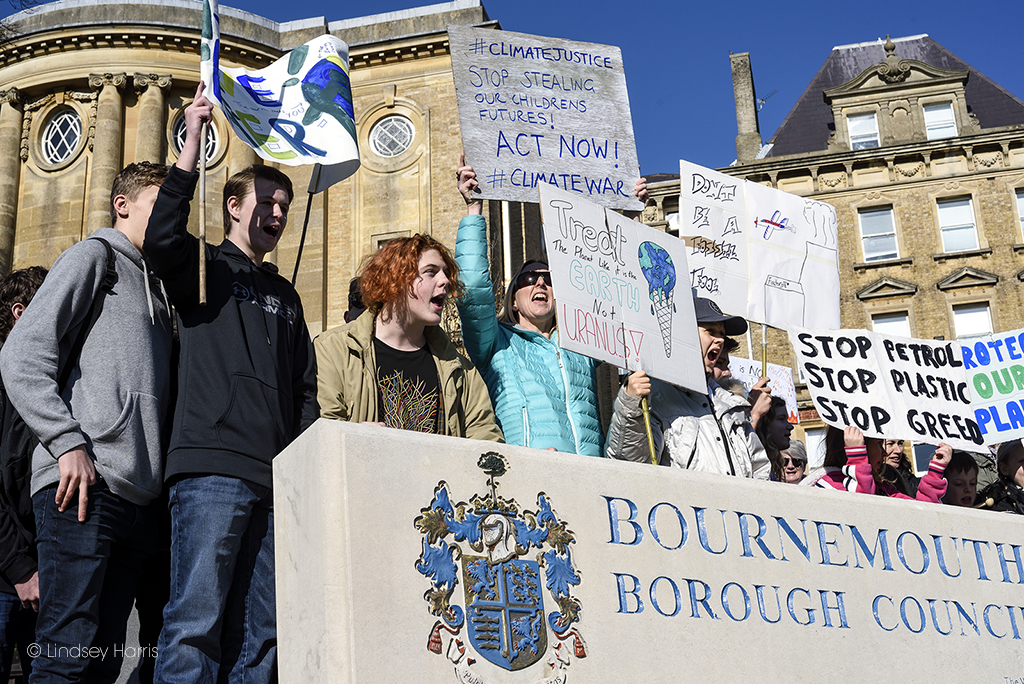 Youth Strike 4 Climate Bournemouth, protestors outside the Town Hall.